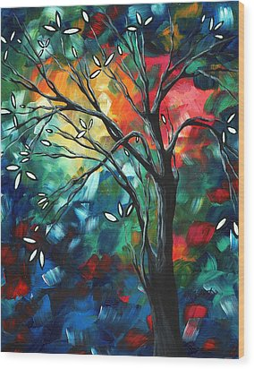Abstract Art Original Colorful Painting Spring Blossoms By Madart Wood Print by Megan Duncanson
