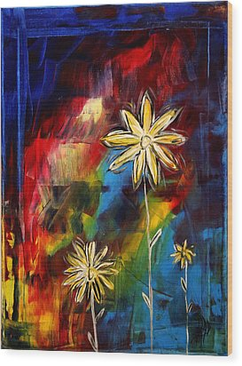 Abstract Art Original Daisy Flower Painting Visual Feast By Madart Wood Print by Megan Duncanson