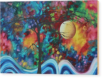 Abstract Art Original Enormous Bold Painting Essence Of The Earth I By Madart Wood Print by Megan Duncanson