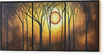 Abstract Art Original Landscape Golden Halo By Madart Wood Print by Megan Duncanson