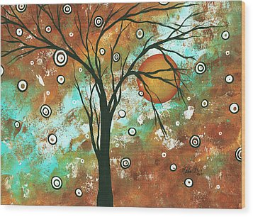 Abstract Art Original Landscape Painting Bold Circle Of Life Design Autumns Eve By Madart Wood Print by Megan Duncanson