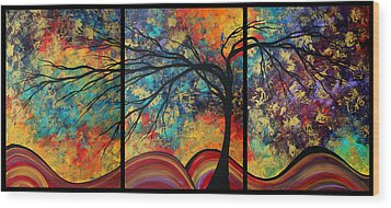Abstract Art Original Landscape Painting Go Forth By Madart Wood Print by Megan Duncanson