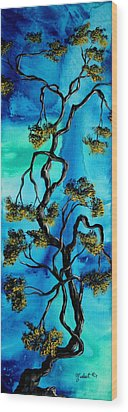 Abstract Art Original Landscape Painting Life Is A Maze By Madart Wood Print by Megan Duncanson