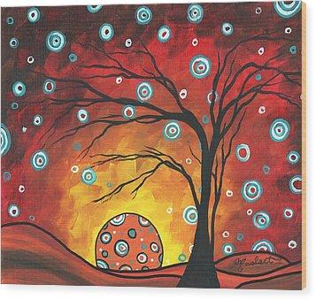Abstract Art Original Landscape Painting Setting Sun By Madart Wood Print by Megan Duncanson