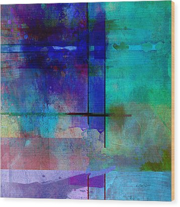 abstract-art-Rhapsody in Blue Square  Wood Print by Ann Powell