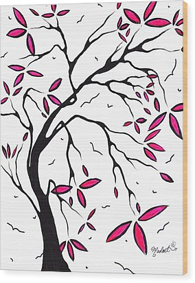 Abstract Artwork Modern Original Landscape Pink Blossom Tree Art Pink Foliage By Madart Wood Print by Megan Duncanson