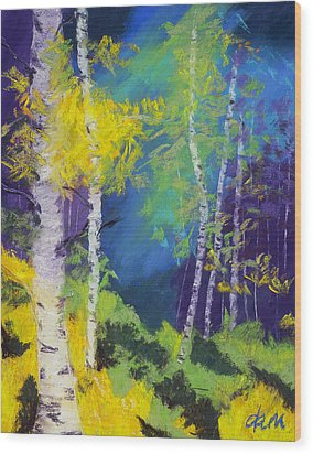 Abstract Aspens Wood Print by Dana Strotheide