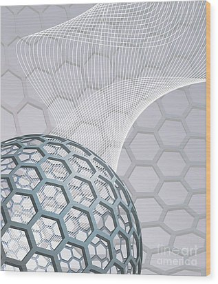 Abstract Background With Buckyball Wood Print by Christos Georghiou