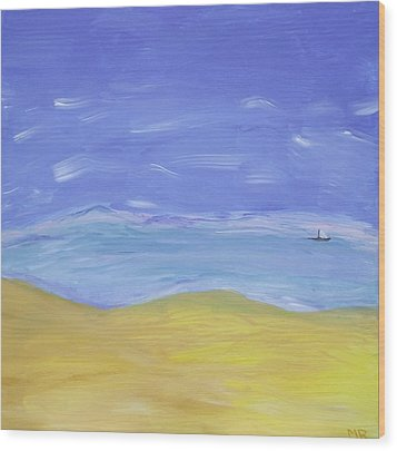 Wood Print featuring the painting Abstract Beach by Martin Blakeley