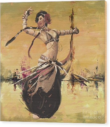 Abstract Belly Dancer 2 Wood Print