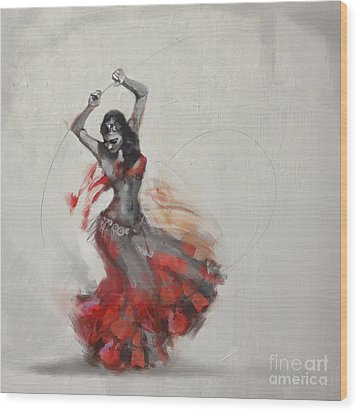 Abstract Belly Dancer 21 Wood Print