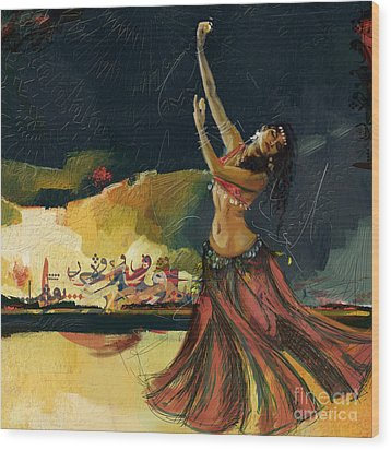 Abstract Belly Dancer 5 Wood Print