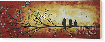 Abstract Bird Landscape Tree Blossoms Original Painting Family Of Three Wood Print by Megan Duncanson