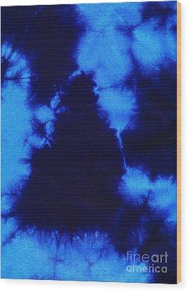 Abstract Blue Batik Pattern Wood Print by Kerstin Ivarsson