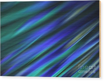 Abstract Blue Green Diagonal Blur Wood Print by Marvin Spates