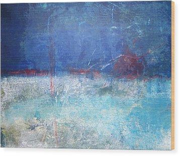 Abstract Blue Horizon Wood Print
