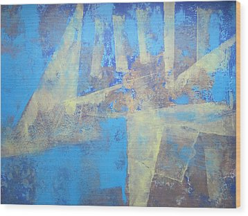 Wood Print featuring the painting Abstract Blue Landscape by John Fish