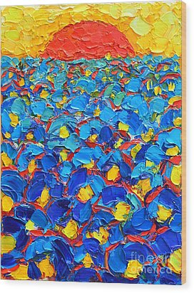 Abstract Blue Poppies In Sunrise -original Oil Painting Wood Print by Ana Maria Edulescu