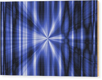 Abstract Blue Rays Background Wood Print by Somkiet Chanumporn