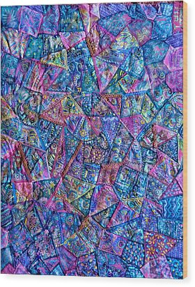 Wood Print featuring the digital art Abstract Blue Rose Quilt by Jean Fitzgerald