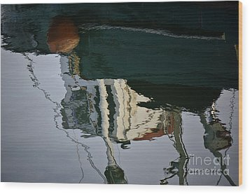 Abstract Boat Reflection II Wood Print by Dave Gordon
