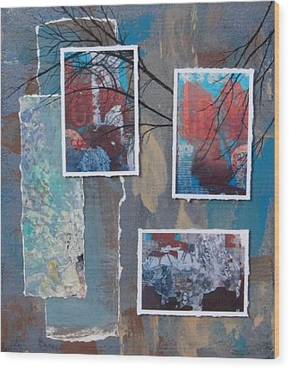 Abstract Branch Collage Trio Wood Print by Anita Burgermeister