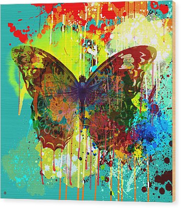 Abstract Butterfly Wood Print by Gary Grayson