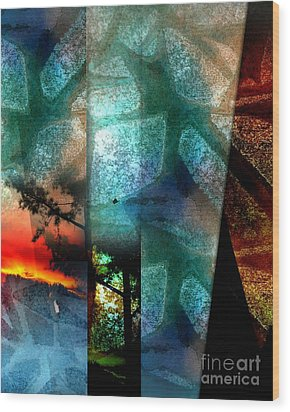 Wood Print featuring the digital art Abstract Calling by Allison Ashton