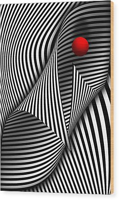 Abstract - Catch The Red Ball Wood Print by Mike Savad