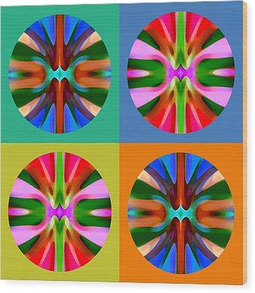 Abstract Circles And Squares 4 Wood Print by Amy Vangsgard