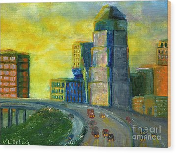 Abstract City Downtown Shreveport Louisiana Wood Print by Lenora  De Lude