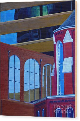 Abstract City Downtown Shreveport Louisiana Urban Buildings And Church Wood Print by Lenora  De Lude