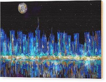 Abstract City Skyline Wood Print