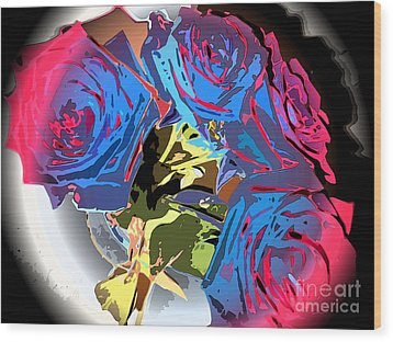 Abstract Cluster Of Roses Wood Print by Minding My  Visions by Adri and Ray