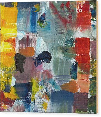 Abstract Color Relationships Lv Wood Print by Michelle Calkins