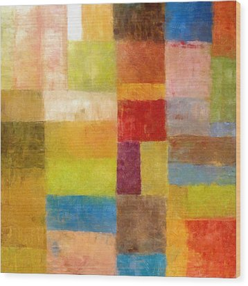 Abstract Color Study Vii Wood Print by Michelle Calkins