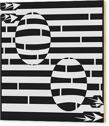 Abstract Concave Convex Maze  Wood Print by Yonatan Frimer Maze Artist