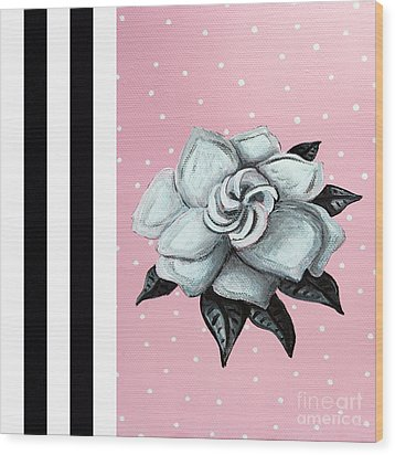 Abstract Contemporary Whimsical Pink Painting Gardenia Flower By Madart Wood Print by Megan Duncanson