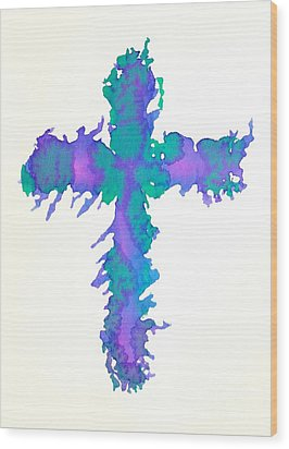 Abstract Cross Wood Print by Pattie Calfy
