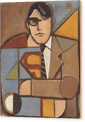 Abstract Cubism Clark Kent Superman Art Print Wood Print by Tommervik