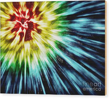 Abstract Dark Tie Dye Wood Print by Phil Perkins