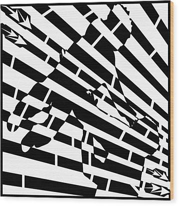 Abstract Distortion Childhood Joy Maze Wood Print by Yonatan Frimer Maze Artist
