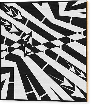 Abstract Distortion Fuel Line Maze Wood Print by Yonatan Frimer Maze Artist