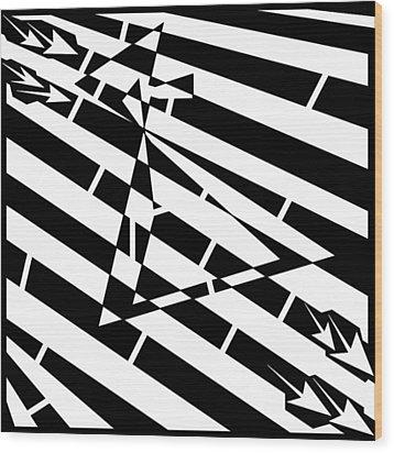 Abstract Distortion Hour-glass Maze  Wood Print by Yonatan Frimer Maze Artist