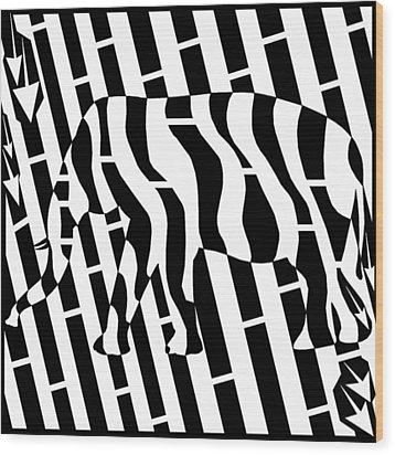Abstract Distortion Invisible Elephant In The Room Maze  Wood Print by Yonatan Frimer Maze Artist