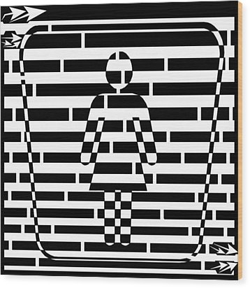 Abstract Distortion Ladies Room Sign Maze Wood Print by Yonatan Frimer Maze Artist