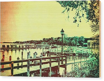 Abstract Docks And Water Wood Print