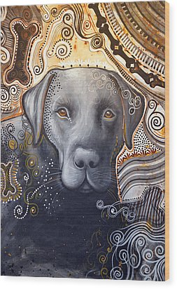 Wood Print featuring the painting Abstract Dog Art Print ... Rudy by Amy Giacomelli