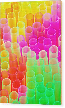 Abstract Drinking Straws #2 Wood Print by Meirion Matthias