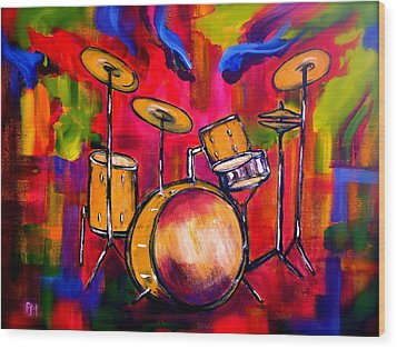 Abstract Drums II Wood Print by Pete Maier